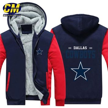 NFL American football winter thicken plus velvet zipper coat hooded sweatshirt casual jacket Dallas Cowboys
