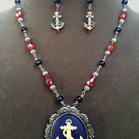 Red and Blue Anchor Cameo Jewelry Set