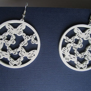 Large White Silhouette Butterfly Earrings