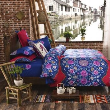 Bedding Set Bohemian Style 3-4pcs 100% Polyester Duvet Cover Sets Twin Full Queen King Size Bedding Sets