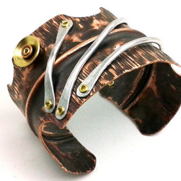 Textured Copper Bracelet Wide Fold Formed Cuff Aluminum Wire - Mixed Metal Cold Connection Rivet Forged Steampunk Fantasy Antique Rustic