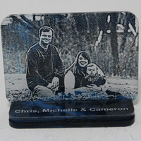Unique personalized laser engraved marbled acrylic photo