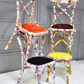 4 x colorful floral Thonet dining chairs by namedesignstudio