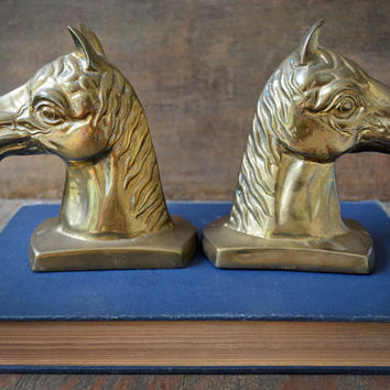 Vintage Brass Bookends - Vintage Horse Bookends - Brass Horse Bookends - Equine Bookends - Brass Horse Paperweights - Equestrian Decor