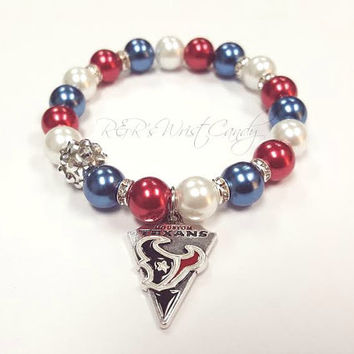 Houston Texans Bracelet, Beaded Bracelet, NFL, Football Bracelet, Charm Bracelet,Stretchy, Handmade Custom Jewelry