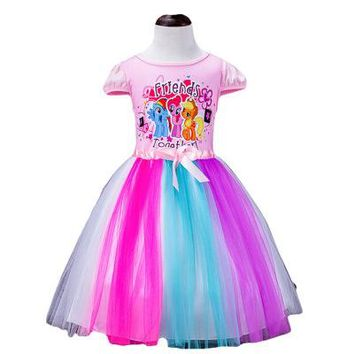 2-10Years Big Kids Girls Dress Little Pony Elsa Spring Girl Short sleeve Dresses My girls princess For Little Pony Costume