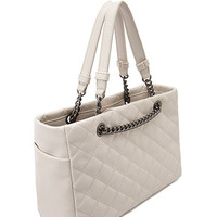 Faux Leather Quilted Satchel