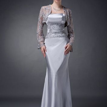 Cecelle 2019 Two Pieces Silver Mermaid Mother Of The Bride Dresses With Lace Jackets Beaded Formal Mother's Evening Gowns Real