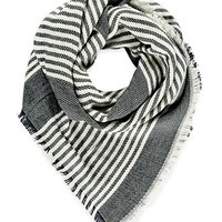 Frayed Stripe-Patterned Scarf