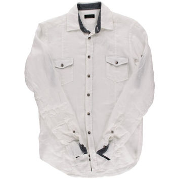 Zara Mens Linen Casual Button-Down Shirt