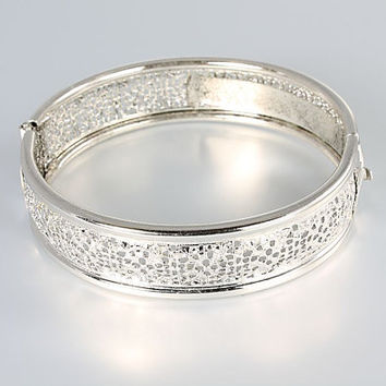 Art Deco rhodium Bangle bracelet, Oval Filigree silver tone Vintage jewelry