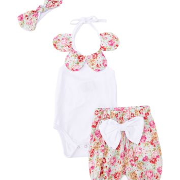 Pink Floral Bodysuit, Shorts & Headband Set