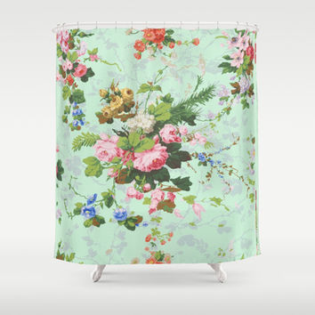 Antique romantic vintage 1800s Victorian floral shabby rose flowers pattern aqua mint hipster print Shower Curtain by iGallery | Society6