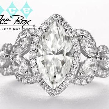 Moissanite Engagement Ring 5 x 10mm 1ct Forever Brilliant Marquise Cut in a 14K White Gold Diamond Halo Floral Setting