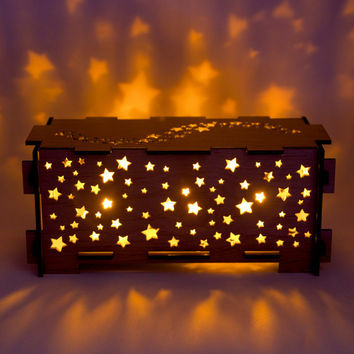Star wood night light box lamp trinket storage box by dirtbyearth
