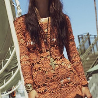 Superb  Dress Bohemian Trend Long sleeves Crochet Hand-Made