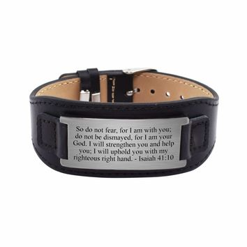 Mens Genuine Leather Scripture Bracelet - Isaiah 41:10