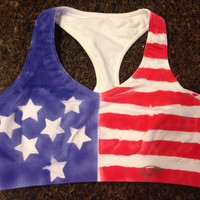 American Flag Sports Bra Woman's, red white and blue