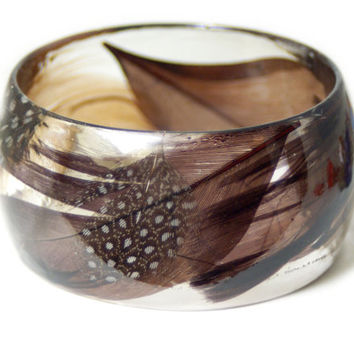Feather Jewelry-  Brown Feather Bangle- Brown Jewelry- Resin Jewelry- Flower Bangle- Black Bracelet