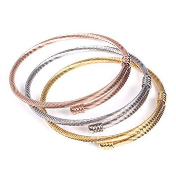 Faurora Bracelet for Women Bangle 3 Cable Wire Bracelets Bangles Stackable Cuff Gift Set