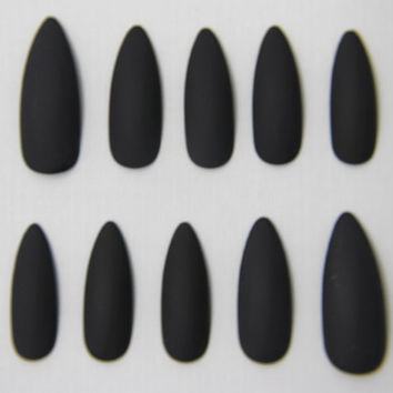 Stiletto Matte Black Nails | Press On Nails | Fake Nails | False Nails | Glue On Nails | Acrylic Nails | Handpainted | Nail Art