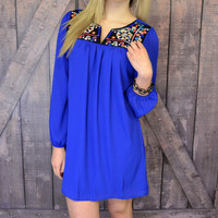 Pollen Petals Royal Blue Embroidered Dress