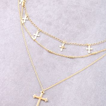 Hanging Crosses Layered Necklace