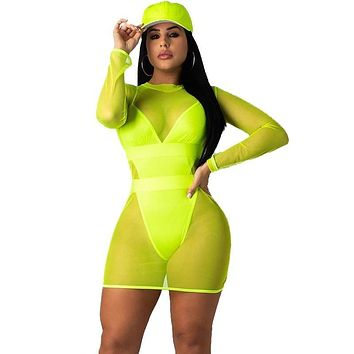 Neon Green Sexy Mini Summer Body-con Dress
