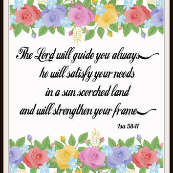 """""""The Lord Will Guide You Always"""" Wall Decor, Unframed Printed Art Print Poster, Scripture Print, Motivational Quote"""