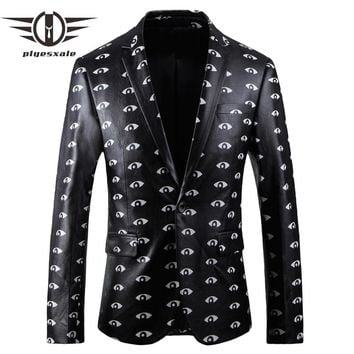 Black Leather Blazer Men Autumn Slim Fit Men's Blazers And Suit Jackets Casual Blazers For Men