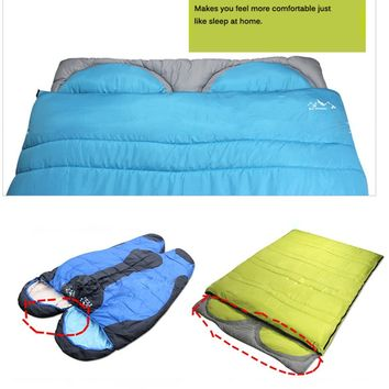 """Vokul® Warmly 2 Person Sleeping Bag 5℃-15℃ for Camping Hiking(75""""+12'') L X 60""""w 5.7lbs (Blue)"""