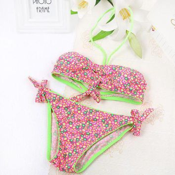 Fresh Flowers Design Kids Swimsuit Two Piece Girls Lovely Swimwear Colorful Sweet Bathing Suit Baby Children Beachwear