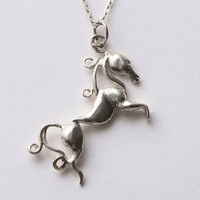 Horse Pendant - Sterling Silver Pendant, horses silver pendant, horse necklace, equestrian pendant