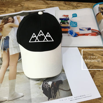 Mountains Baseball Cap, Camping hat, Low-Profile Baseball Cap Hat Tumblr Inspired Pastel Pale Grunge