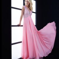 Pink Beaded Bodice Open Back Gown