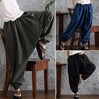 Women High Waist Low Drop Button Pocket Harem Pants (Black/Gray/Blue)