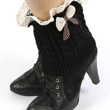 LEG WARMER LACED TOP KNITTED WOVEN BOW