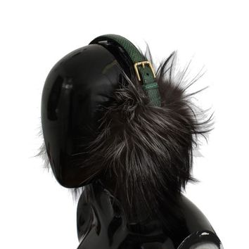Dolce & Gabbana Gray Fox Fur Green Snakeskin Ear Muffs