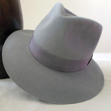 Light Gray Fur Felt Fedora - Wide Brim Rabbit Fur Felt  Blend Handmade Fedora Hat - Men Women