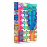 "Miranda Mol ""Triangle Quilt"" Multicolor Geometric Canvas Art"