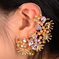 Crystal and Pearl Blossom Ear Cuff (Single, No Piercing) | LilyFair Jewelry