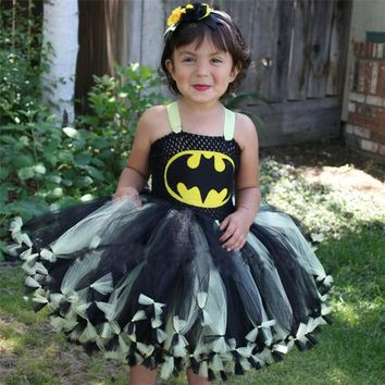 Moeble Girls Knotted Batman Tutu Dress Superhero Children Cosplay Costume Christmas Halloween Kids Party Dresses Xmas Gift