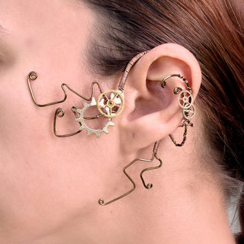 Copper and Cogs Steampunk Ear Wrap