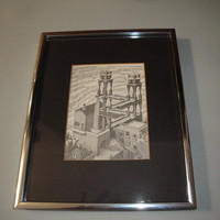 Vintage M. C. Escher Waterfall Framed Art Print Black White Fantasy Architecure Water Wheel
