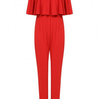 Jumpsuit With Off Shoulder Ruffle In Red