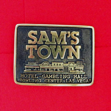 Sam's Town Belt Buckle, Heritage Mint Solid Brass Belt Buckle, Vintage 1982 Las Vegas Gamblers Buckle, Gift for Him