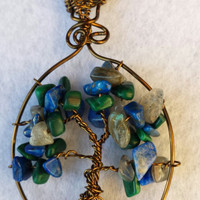 Handcrafted Wire Wrapped Azurite,Malachite & Labradorite Gemstone Tree of Life Pendant, Nature,Healing Crystals,Reiki,Yoga Jewelery,Talisman
