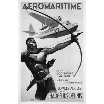 Africa Aeromaritime 1950 poster Metal Sign Wall Art 8in x 12in Black and White