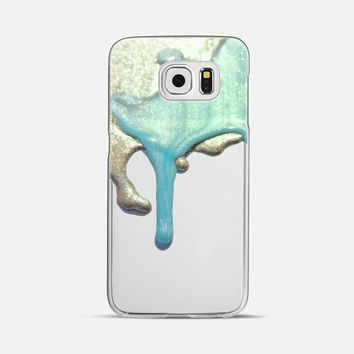 LIQUID GOLD & MINT iPhone 6 Crystal Clear Case Galaxy S6 case by Monika Strigel | Casetify