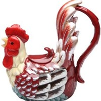 Appletree Design A Day in the Country Rooster Teapot, 7-1/2-Inch